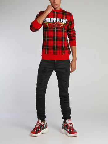 Red Check Knit Pullover
