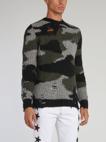 Camo Distressed Ribbed Pullover