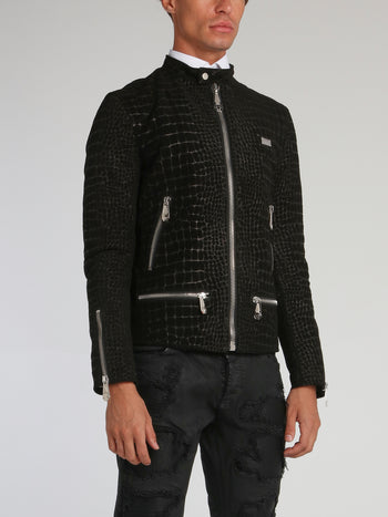 Black Reptilian Leather Moto Jacket