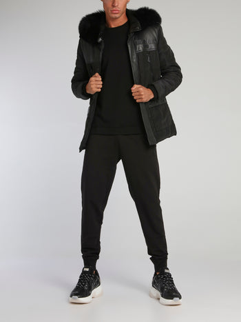 Black Leather Panel Quilt Jacket