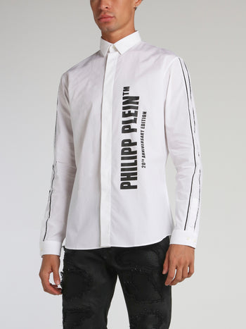 White Contrast Logo Button Up Shirt