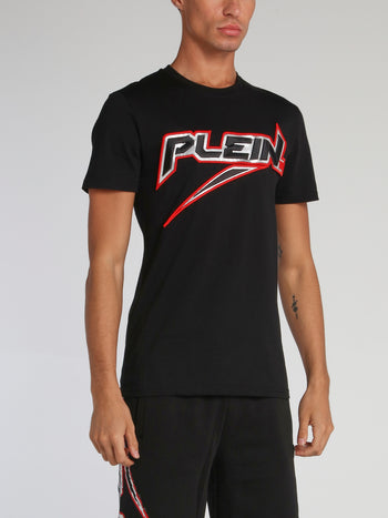 Space Plein Black Embroidered Logo T-Shirt