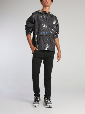 Black Contrast Paint Splatter Windbreaker