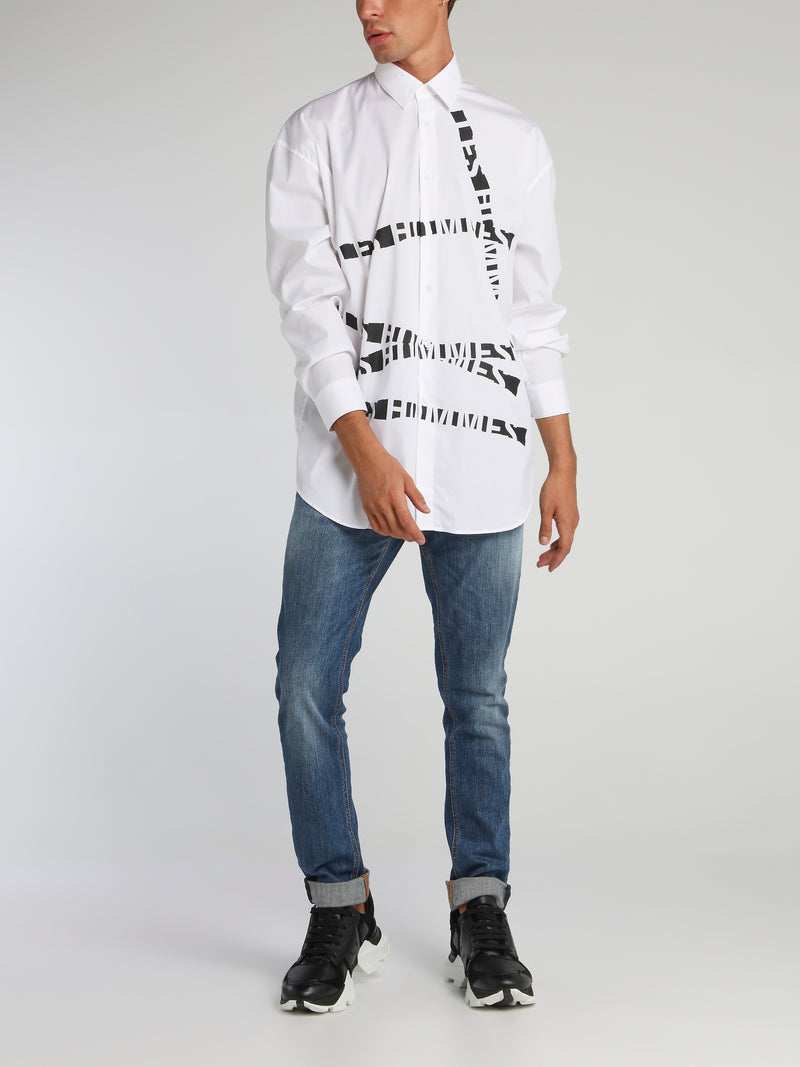 White Distressed Logo Tape Shirt