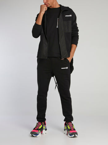 Black Zip Up Tail Hoodie