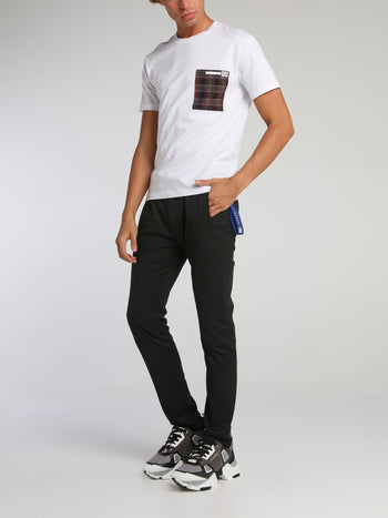 White Check Pocket Crewneck T-Shirt