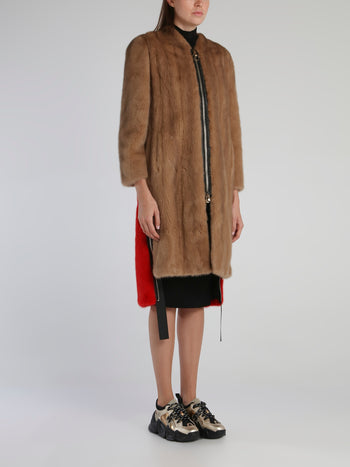 Brown Zip Through Long Coat