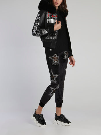 Crystal Studded Star Detail Jogging Trousers