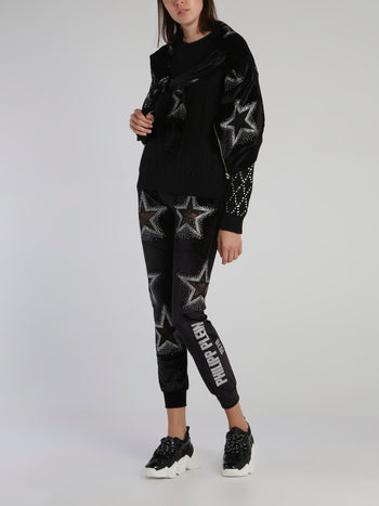 Black Crystal Studded Sleeve Pullover