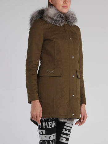 Crystal Plein Fur Trim Parka