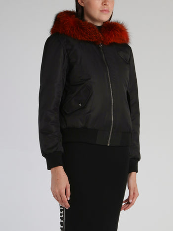 Black Fur Hood Bomber Jacket