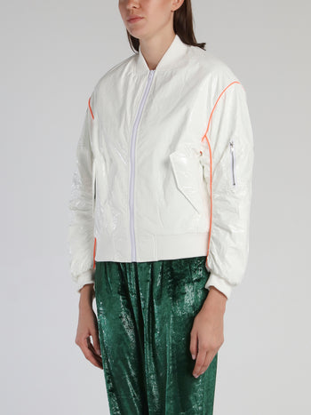 White Shirred Trim Bomber Jacket