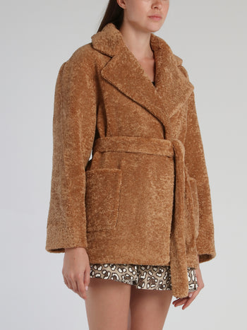 Brown Oversized Faux-Fur Logo Coat