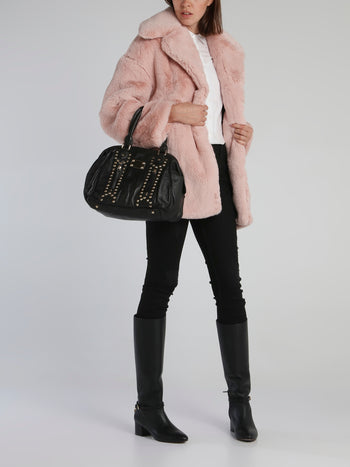 Off Pink Oversized Faux-Fur Coat