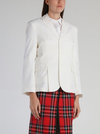 White Rear Slit Jacket