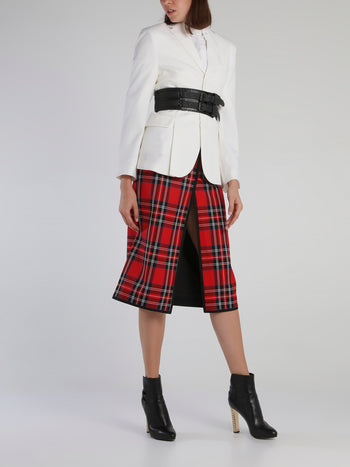 Red Scotland Check Front-Slit Skirt