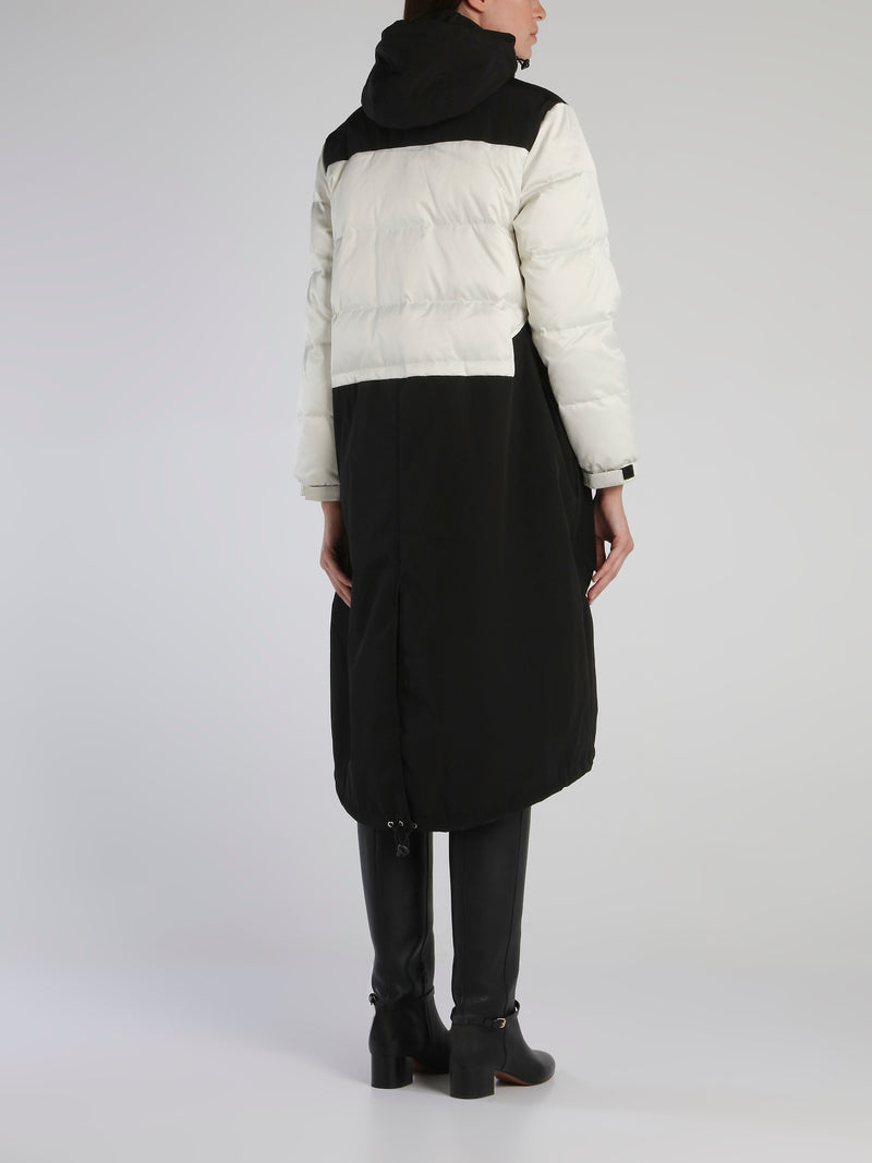 White Contrast Long Padding Coat
