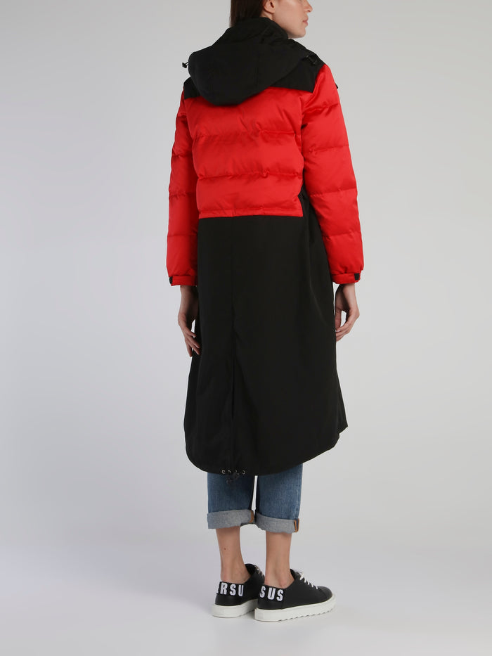 Red Contrast Long Padding Coat