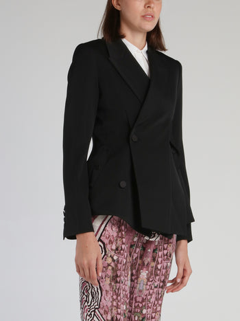 Black Double Front Slit Blazer