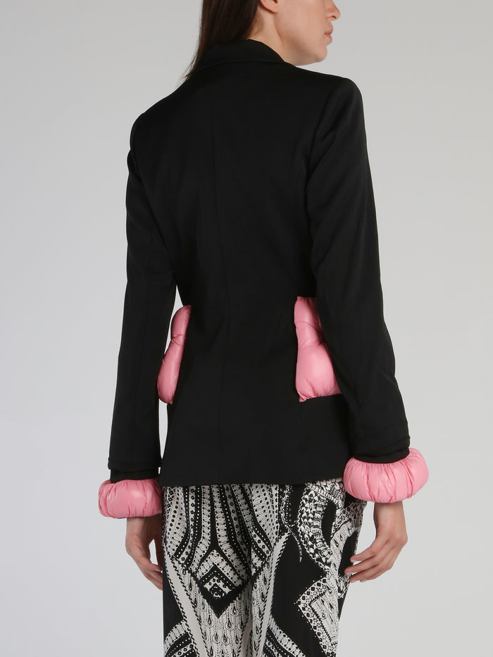 Black Detachable Sleeve Detail Blazer