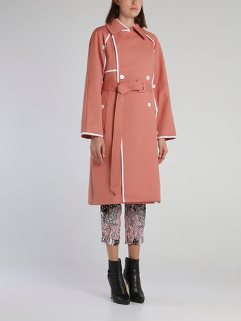 Pink Layered Sleeve Trench Coat