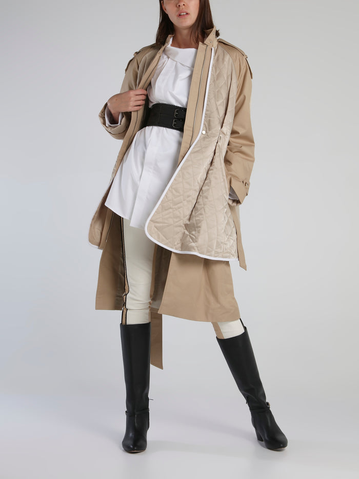 Beige Quilting Layer Trench Coat