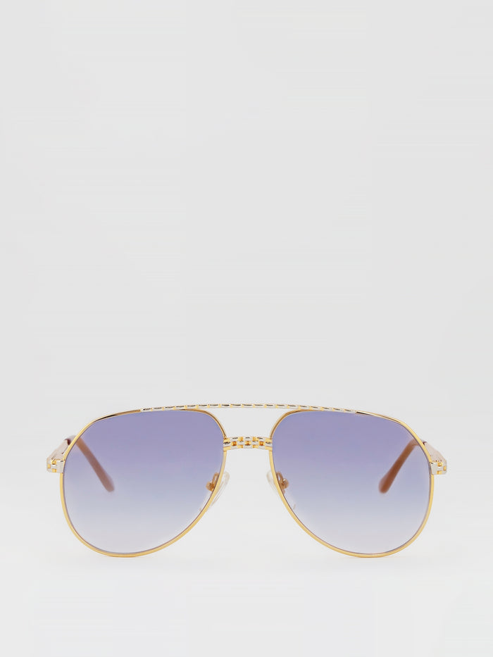 Purple Gradient Two Tone Aviator Sunglasses