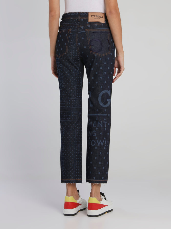 Embroidered Statement Straight Cut Jeans