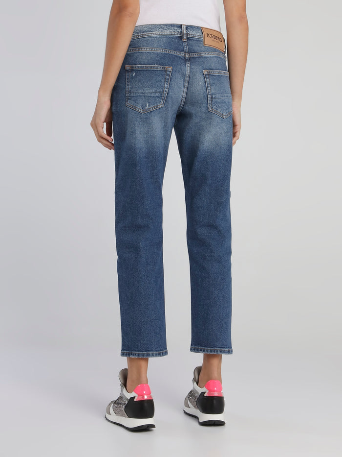 Blue Straight Cut Distressed Capri Jeans