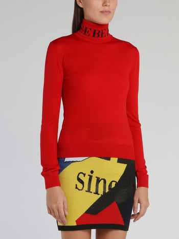 Red Logo Knitted Turtleneck Top
