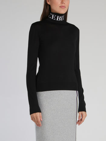 Black Logo Knitted Turtleneck Top