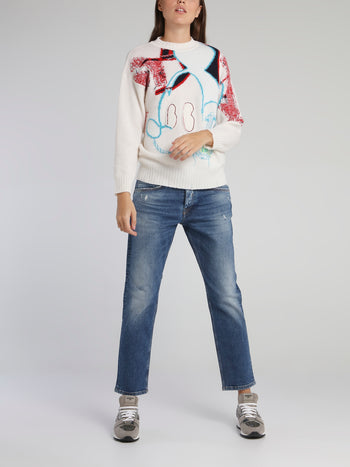 Mickey Mouse White Contrast Sweater