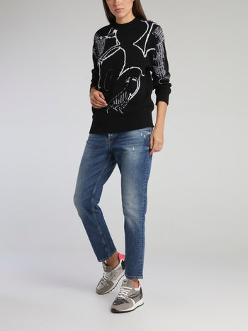 Mickey Mouse Black Contrast Sweater