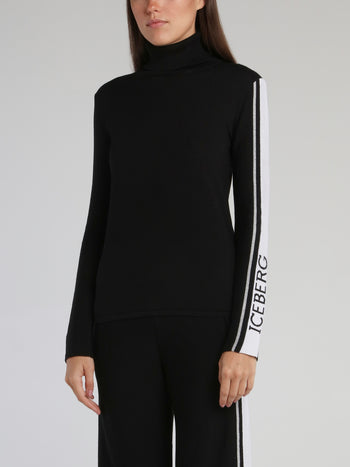 Black Logo Sleeve Turtleneck Top