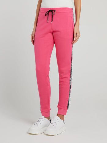 Pink Logo Tape Fleece Pants