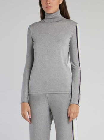 Grey Logo Sleeve Turtleneck Top