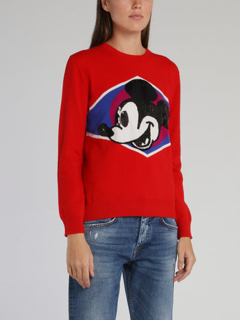 Red Mickey Mouse Crewneck Knitted Sweater