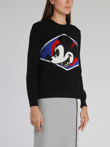 Black Mickey Mouse Crewneck Knitted Sweater