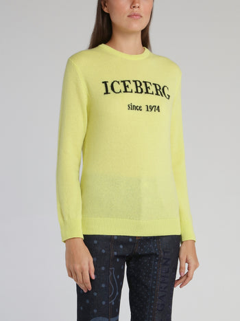 Yellow Logo Cashmere Knitted Sweater