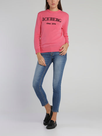 Pink Logo Cashmere Knitted Sweater