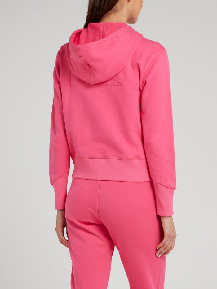 Pink Zip Up Drawstring Jacket
