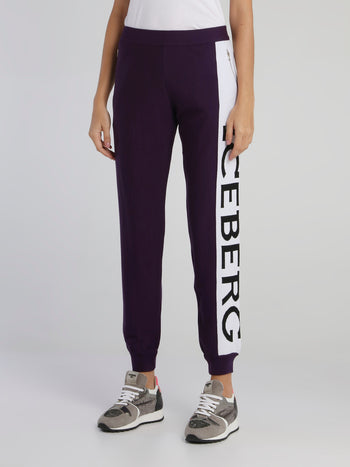 Purple Logo Waistband Knitted Sweatpants