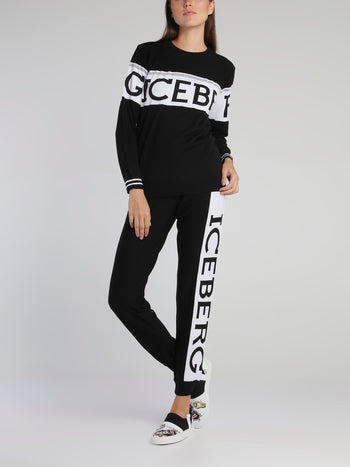 Black Logo Waistband Knitted Sweatpants