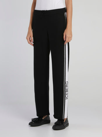 Black Logo Tape Knitted Sweatpants