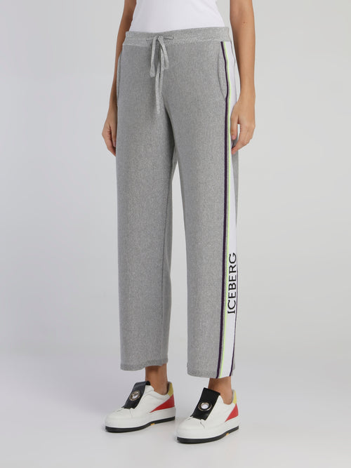 Grey Logo Tape Knitted Sweatpants