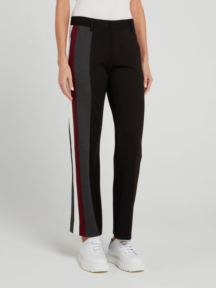 Black Side Stripe Wide Leg Trousers