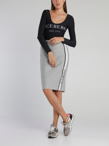 Grey Logo Tape Knitted Skirt