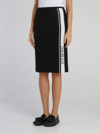Black Logo Tape Knitted Skirt