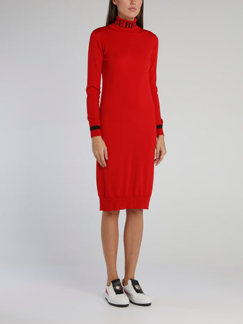 Red Logo Turtleneck Knitted Dress