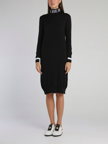 Black Logo Turtleneck Knitted Dress